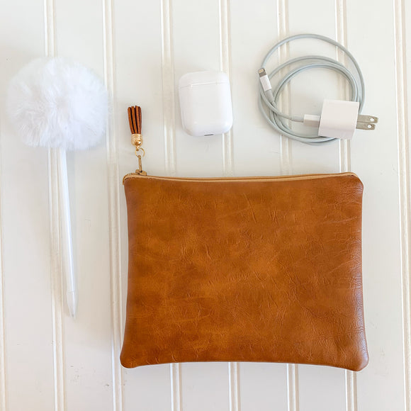 Vegan Leather Zip Pouch - Caramel
