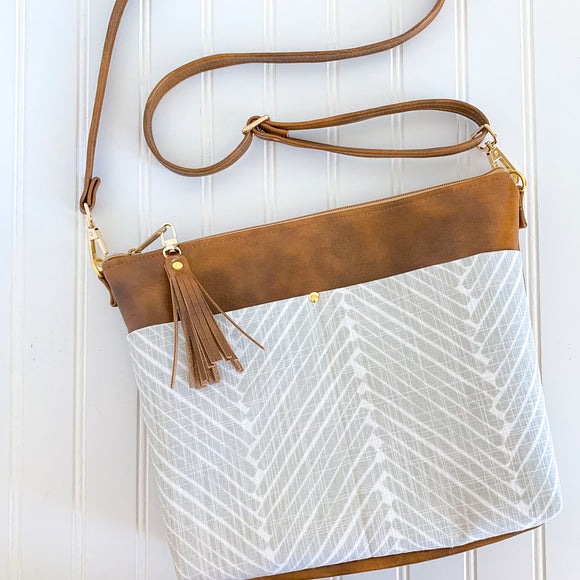 Vegan Leather Crossbody Purse - Greige Herringbone