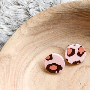 Pink Leopard Stud Earrings