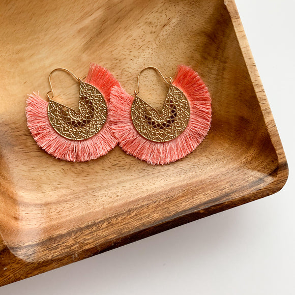 Fringe Circle Medallion Earrings - Blush