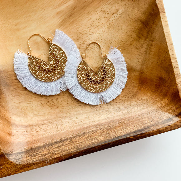 Fringe Circle Medallion Earrings - White