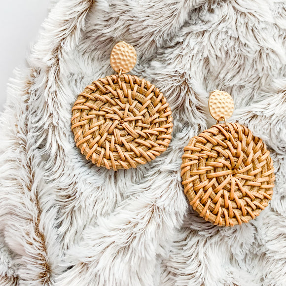 Rattan Medallion Earrings