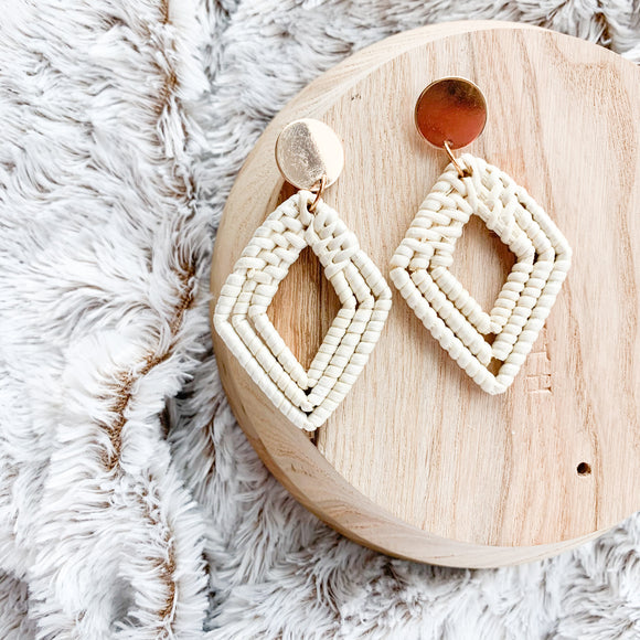 Natural Rattan Diamond Earrings
