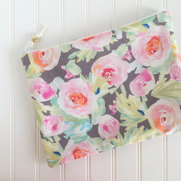 Grey Floral Wet Bag