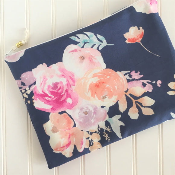 Navy Floral Wet Bag