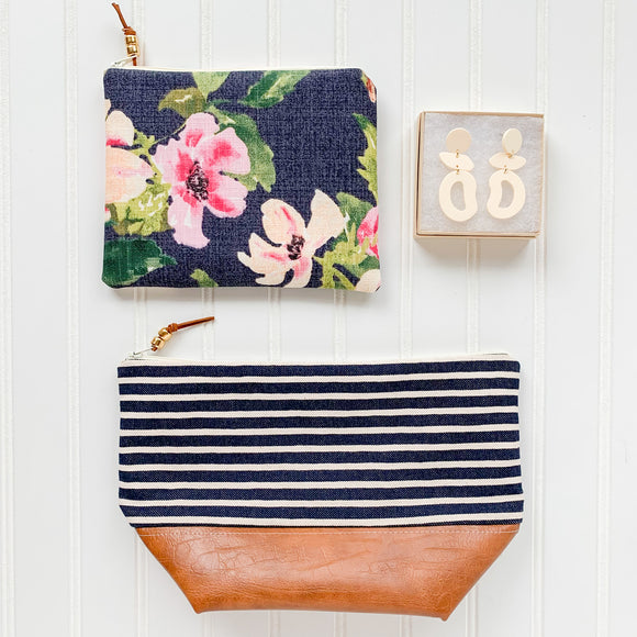 Make Up Bag Bundle - Navy Stripe & Floral