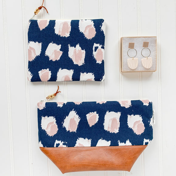 Make Up Bag Bundle - Navy & Blush Abstract Dot