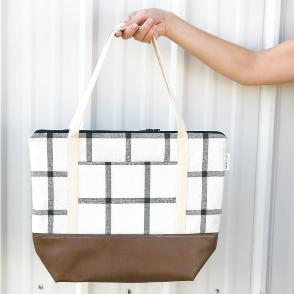 Tote Bag - Windowpane Plaid