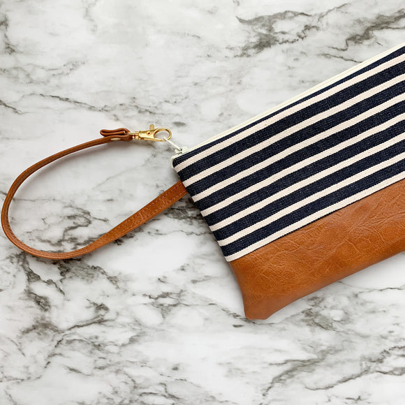 Wristlet Wallet - Navy Stripe