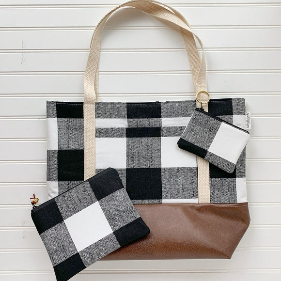 Tote Bag Bundle - White Buffalo Plaid