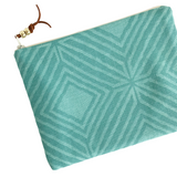 Teal Geometric Zip Pouch