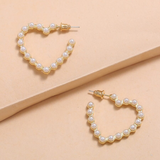 Galentine Day Brightener - Pearl Heart Hoop Earrings