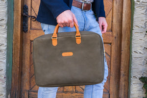 Green Laptop Bag, Mens Briefcase, Leather Travel Bag, Laptop Bag 15,6 for Man and Woman