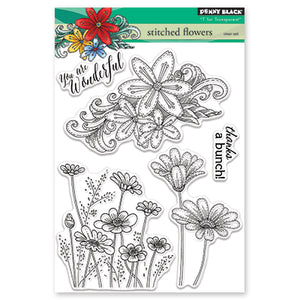 Penny Black Stitched Flower Stamp Set | Serendipity Craft Boutique