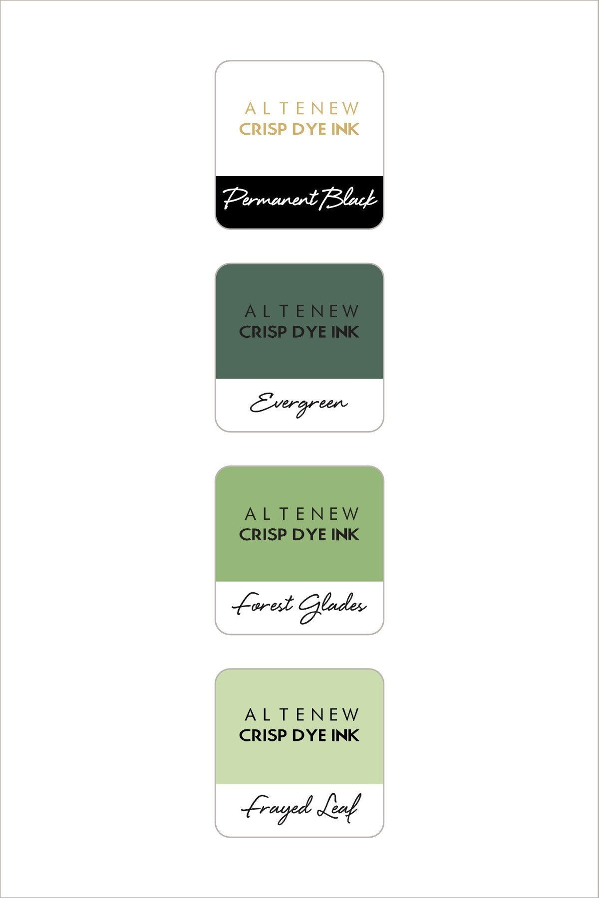 Altenew Green Fields with Permanent Black Mini Cube Set | Serendipity Craft Boutique