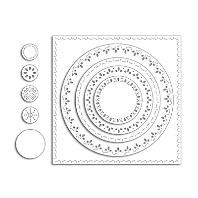 Penny Black Stitched Square and Circles Die Set | Serendipity Craft Boutique