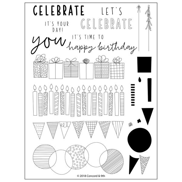 Concord & 9th Birthday Stacks Stamp Set | Serendipity Craft Boutique