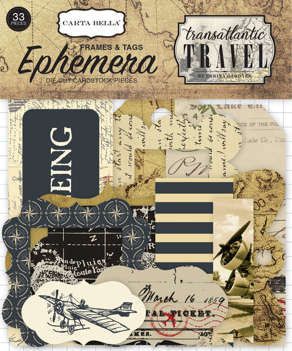 Echo Park Transatlantic Travel Frames & Tags Ephemera | Serendipity Craft Boutique