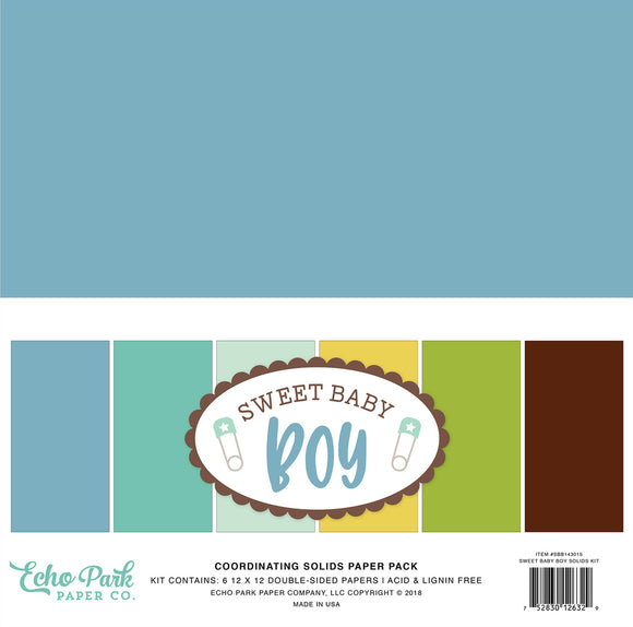 Echo Park Sweet Baby Boy 12x12 Solid Set | Serendipity Craft Boutique