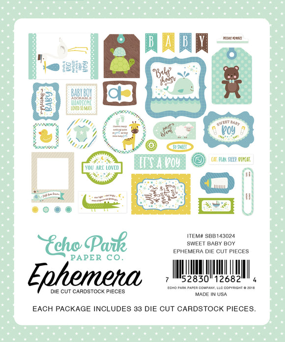 Echo Park Sweet Baby Boy Ephemera | Serendipity Craft Boutique
