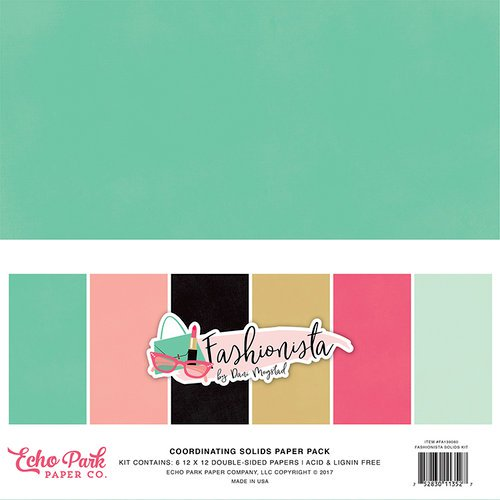 Echo Park  Fashionista Collection 12 x 12 Paper Pack Solids | Serendipity Craft Boutique