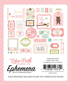 Echo Park Sweet Baby Girl Ephemera | Serendipity Craft Boutique