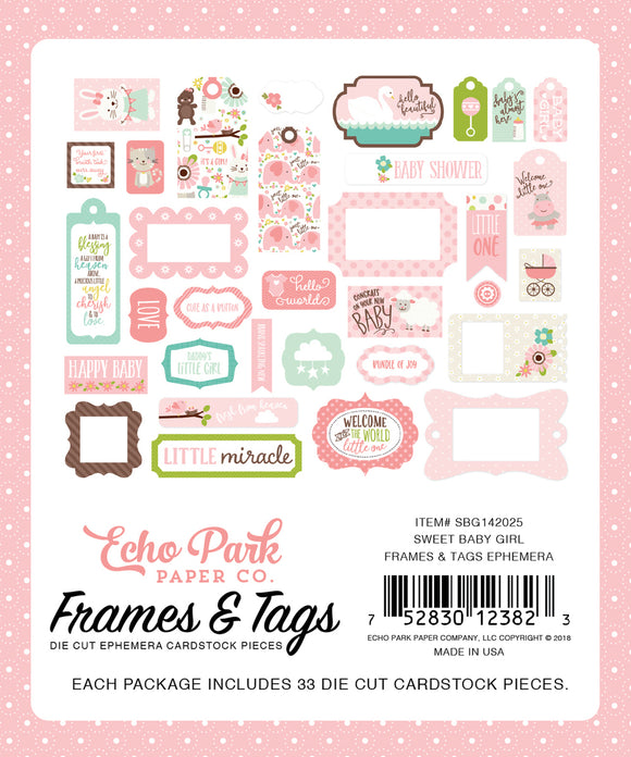 Echo Park Sweet Baby Girl Frames & Tags Ephemera | Serendipity Craft Boutique