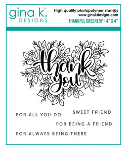 Gina K Designs Thankful Greenery Stamp Set | Serendipity Craft Boutique