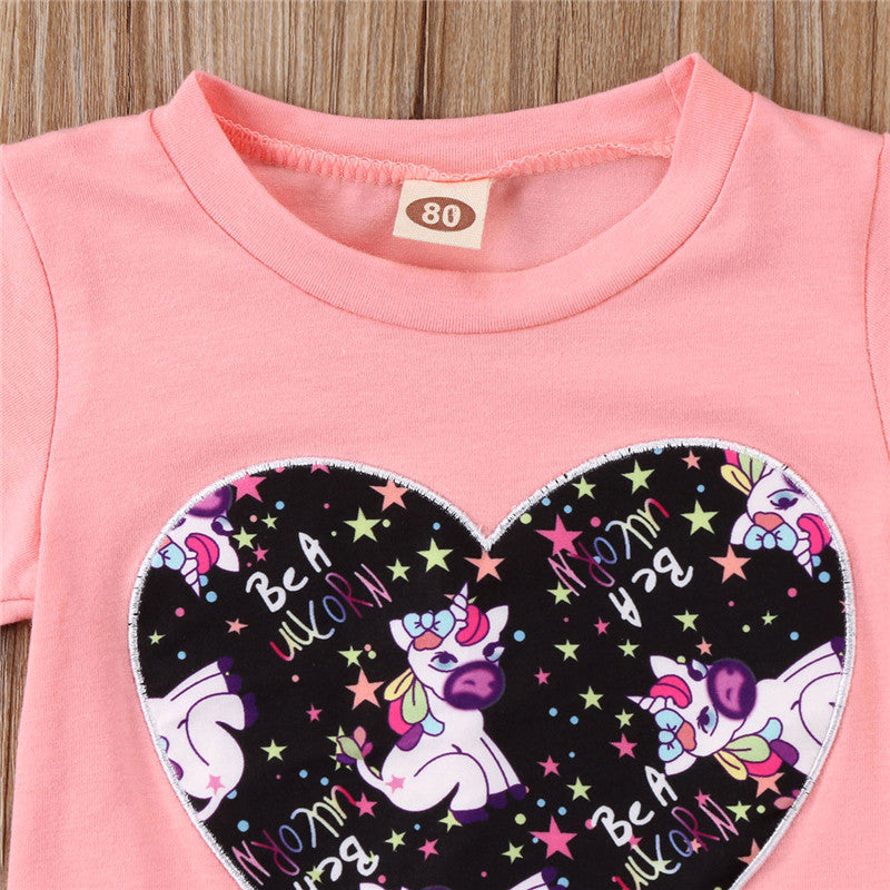 Fashion Summer Cute Unicorn Newborn Baby Girl Flower Romper Children Casual Tracksuit Clothes Set Outfit