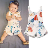 Floral Newborn Baby Girl Kids Sleeveless Flower Romper Jumpsuit Backless Cotton Sunsuit Outfits