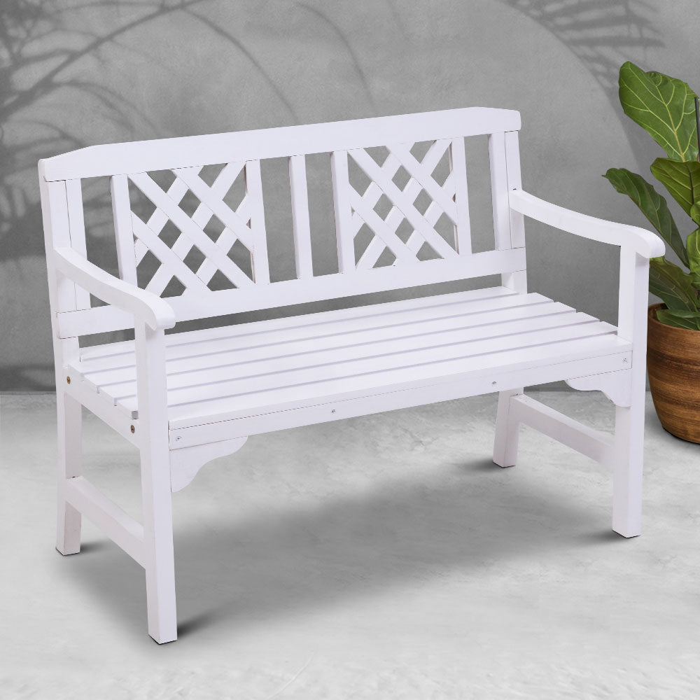 Gardeon Wooden Garden Bench 2 Seat Patio Furniture Timber Outdoor Lounge Chair White