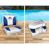 Seamanship Set of 2 Folding Swivel Boat Seats - White & Blue