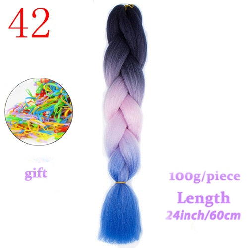 MERISIHAIR Jumbo Braids Long Ombre Jumbo Synthetic Braiding Hair Yellow Pink Purple Gray Hair Extension Oversized Tweezers
