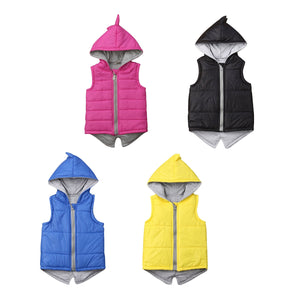 Winter Infant Kids Baby Girls Dinosaur Vest Zip Hooded Jacket Coat Tops Outerwear Pink Hoodies 6M-7T