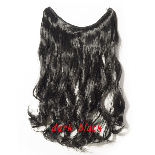 S-noilite 20inch Invisible Wire No Clip One Piece Halo Hair Extension flip in false hair Hairpieces Synthetic hair for women