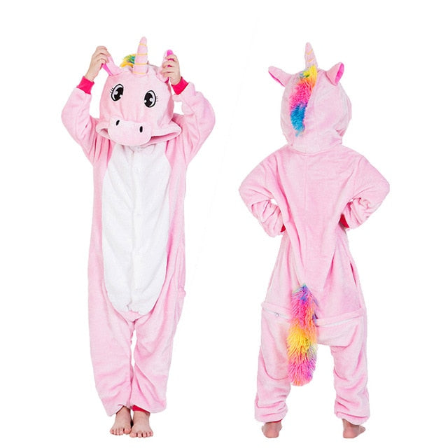 Girls Boys Winter Kigurumi Pajamas Unicorn Cartoon Anime Animal Onesies Kids Sleepwear Flannel Warm Jumpsuit Children Pajamas