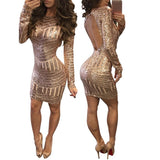 Fashion Classics Women Dress Sexy Long Sleeves Sequined Leakback Backpack Hip Causal Bodycon Dresses
