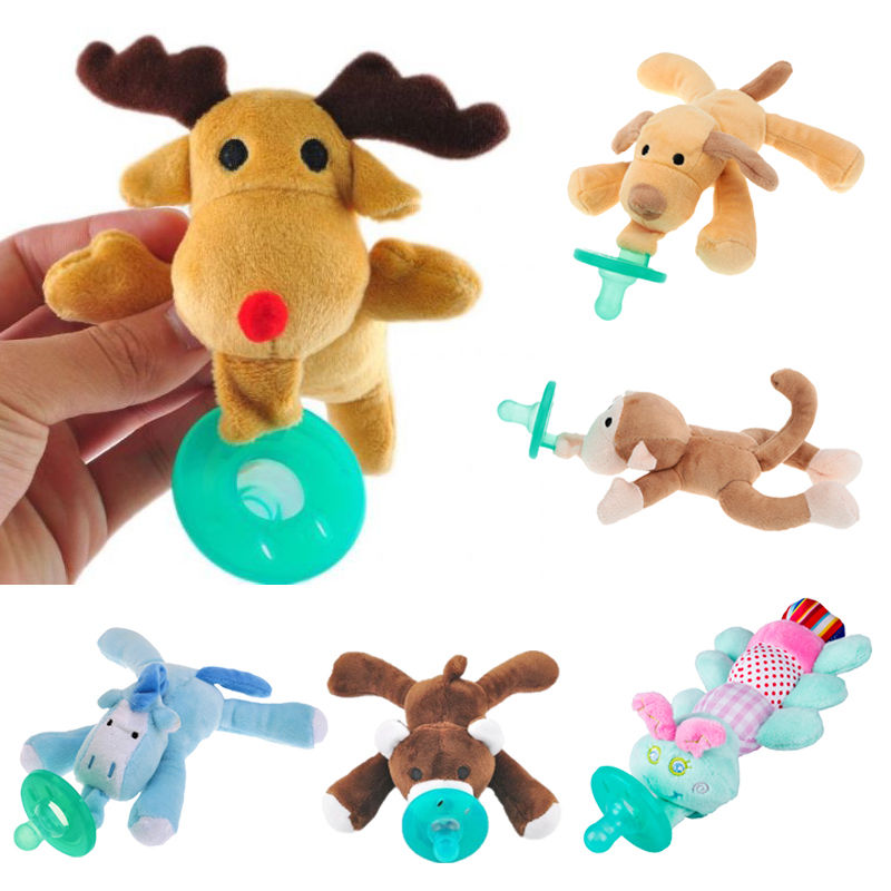 Cute Baby Plush Toy Pacifier Newborn Baby Kids Boys Girls Cartoon Dummy Nipple Soother Silicone Pacifier Feeding Accessories