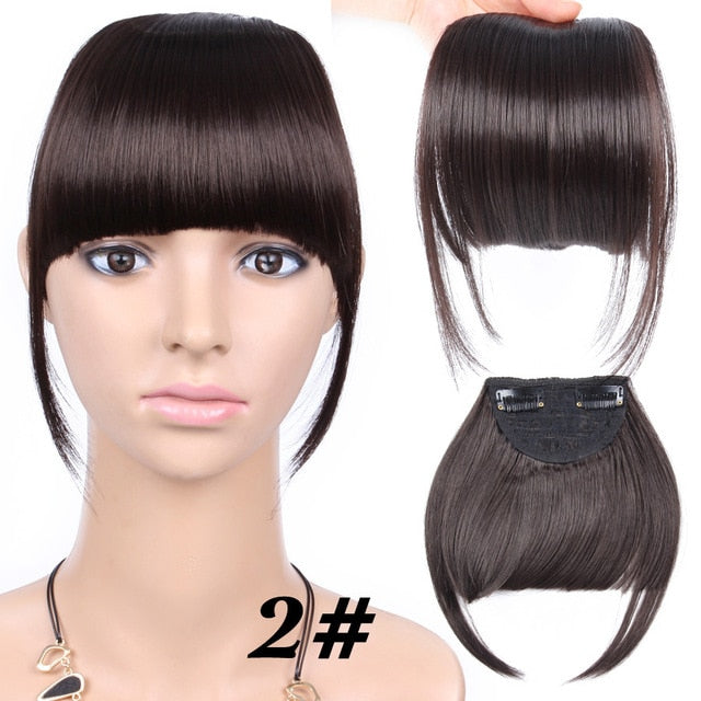 AliLeader Black Brown Blonde Fake Fringe Clip In Bangs Hair Extensions With High Temperature Synthetic Fiber