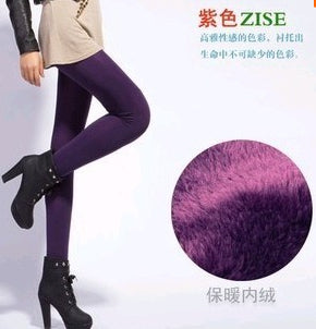 High Elastic Waist Winter Plus Velvet Thicken Women's Warm Pants Warm Fleece Lined Super Elastic Faux Velvet Winter Thick Slim Leggings