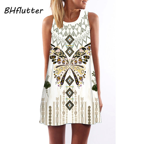 Summer Dress Women Floral Print Chiffon Dress Sleeveless Boho Style Short Beach Dress Sundress Casual Shift Dresses Vestido