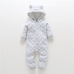 New Limited Unisex Print Full O-neck Autumn Winter Baby Clothes Boy Overalls Newborn One Piece Romper Girl