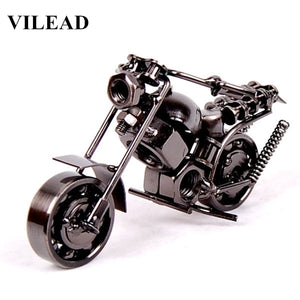 "VILEAD 14cm(5.5"") Motorcycle Model Retro Motor Figurine Metal Decoration Handmade Iron Motorbike Prop Vintage Home Decor Kid Toy"