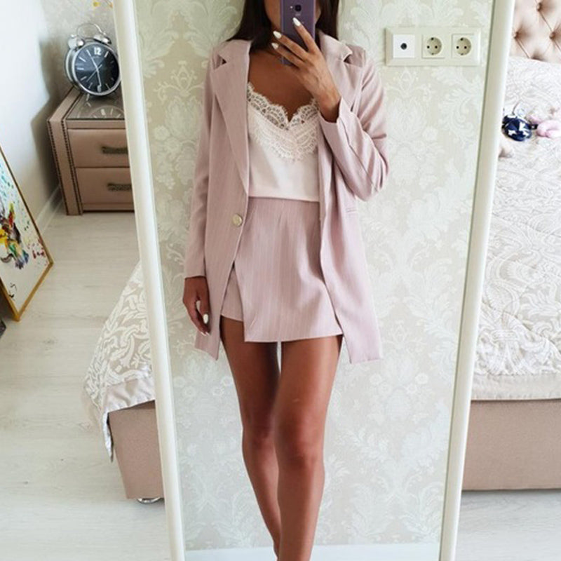 Fashion Women Skirt Suits One Button Notched Striped Blazer Jackets and Slim Mini Skirts Two Pieces OL Sets Female Outfits 2019