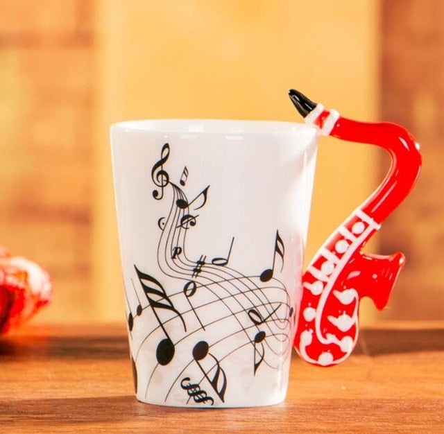 Creative Music Violin Style Guitar Ceramic Mug Coffee Tea Milk Stave Cups with Handle Coffee Mug Novelty Gifts