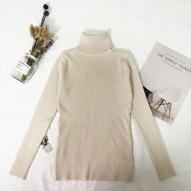 Turtleneck Sweater Women Thin Pullover Jumper Knitted Sweater Pull Femme Hiver Truien Dames New