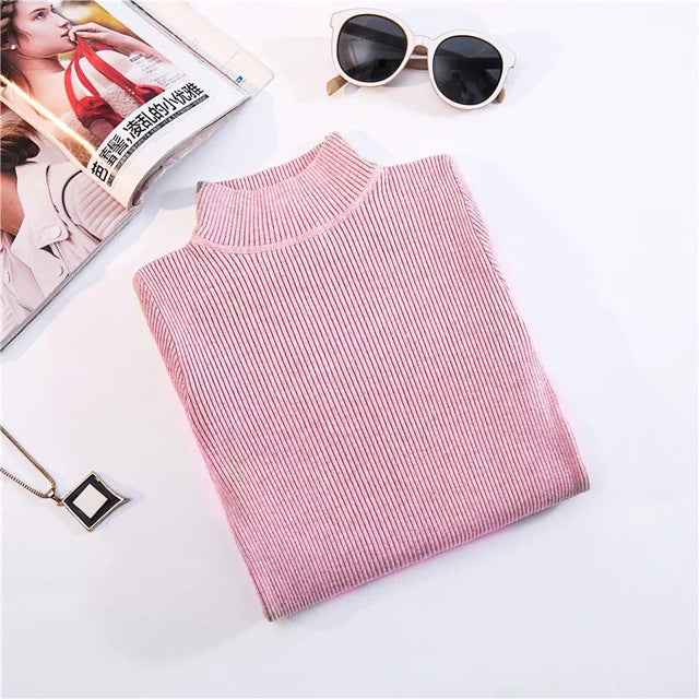 Turtleneck Pullovers Sweaters Primer shirt long sleeve Short Korean Slim-fit tight sweater
