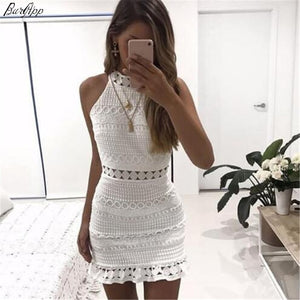 Vintage hollow out lace dress women Elegant sleeveless white dress summer chic party sexy mini dress vestidos 2XL