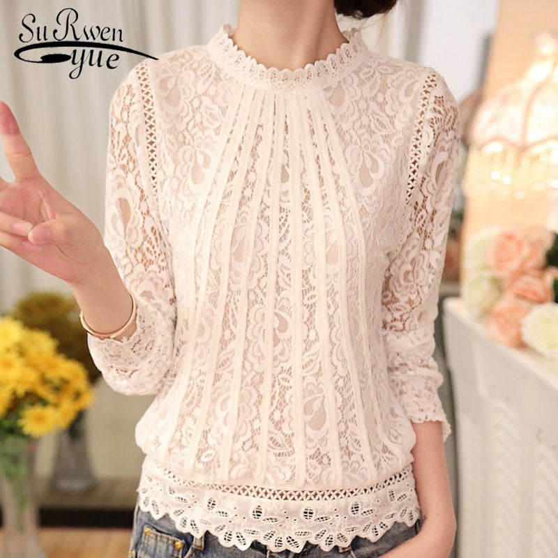Ladies White Blusas Womens Long Sleeve Chiffon Lace Crochet Tops