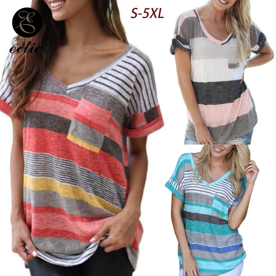 Tunic Big Plus Size 5xl Vetement Femme 2019 Color Block Shirt Red Green Rainbow Striped Short Sleeve Shirt Kawaii Clothes Women